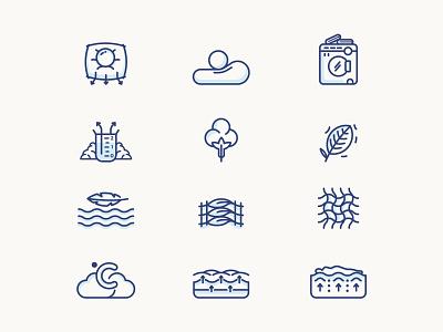 MUYU Beds : Icon set heat color ui branding vector illustration comfort naturel washing machine machine bed clean cotton icon muyu