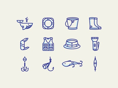 Fishery icon set