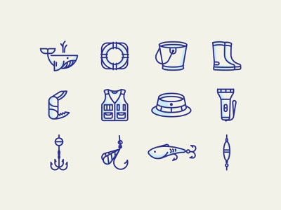 Fishery icon set web app ui knife branding design color vector illustration fisherman fish icon set icon fishing