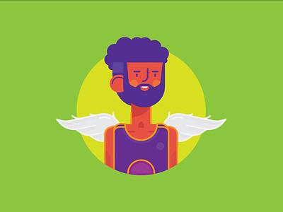 Young King kingdom earth wingman basketball wings branding design color logo icon vector illustration king young
