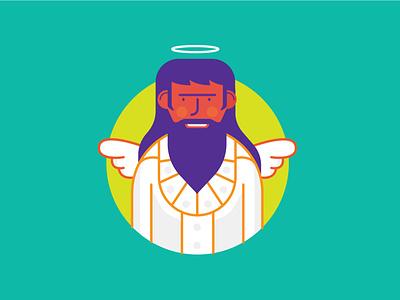 Angel handsome wings smile man branding design color icon vector illustration angel