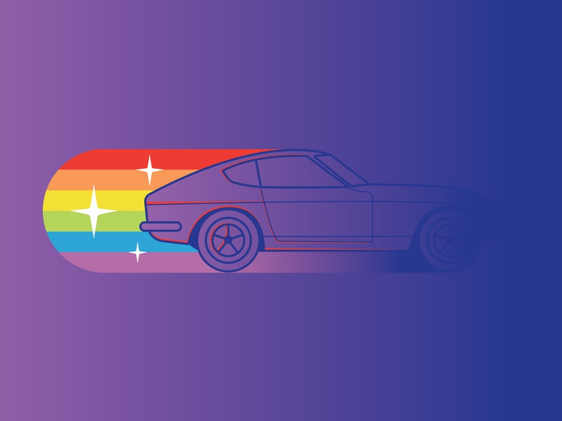 Fast and colorful rainbow startup start car design icon vector illustration colorful fast