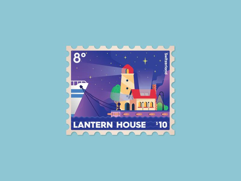 Lantern House postage stamp graphic typography branding design color icon vector illustration stamp postage house lantern