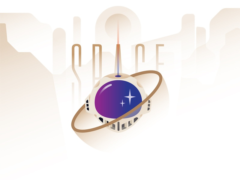 S P A C E color typography symbol logo icon vector illustration astronaut poster space