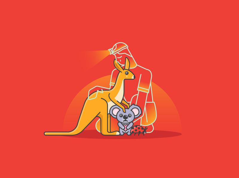 Last drop in Australia! animal icon color sadness vector illustration australia