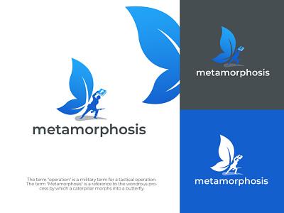 Metamorphosis Logo graphic design flat minimalist unique logo creative professional logo create logo unique minimal minimalist logo modern logo custom logo business logo logo logo design