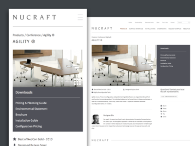 Nucraft Product Page furniture website