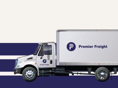 Premier Freight Logo Application branding logo