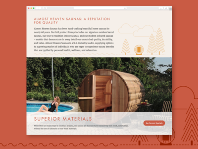 Almost Heaven Saunas: Homepage saunas illustration web design website