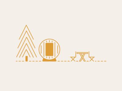Almost Heaven Saunas: Outdoor Sauna Illustration saunas illustration web design