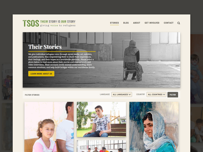 Their Story is Our Story Homepage website web design