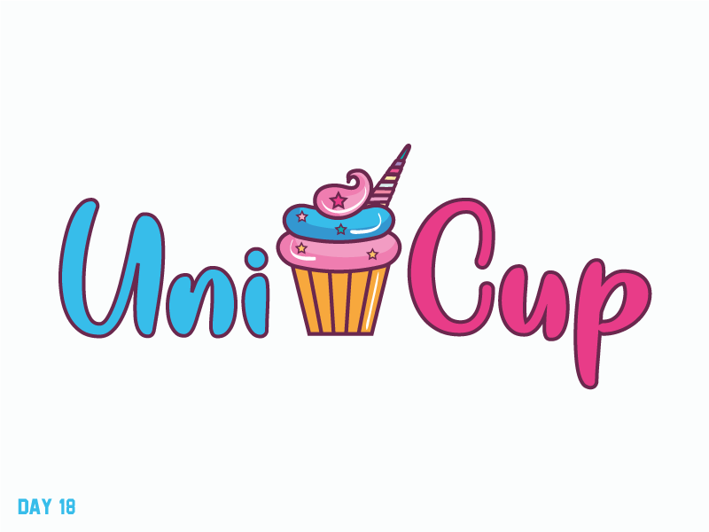 Daily Logo Challenge 18/50 unicorn cup cake cup letter logo daily logo daily challenge dailylogochallenge daily logo design