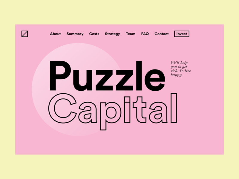 Puzzle Capital — Website Design interface corporate design landing page landing web design webdesign website web ui web visual design ux ui user interface design