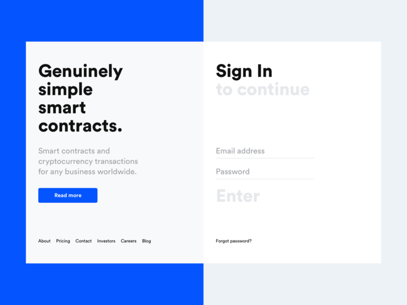 Jincor — Sign In login sign in user interface design ui visual design web web ui website webdesign web design landing landing page corporate design interface ico blockchain user inteface blue clean logo
