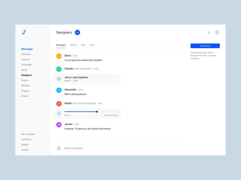 Jincor — Messenger messages chat messenger clean blue user inteface ico interface corporate design web design webdesign website web ui web visual design ui user interface design