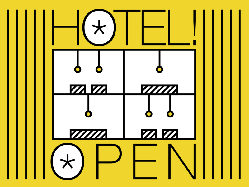 Hotel is open visual design graphic typography yellow icon graphic  design typographic art artwork