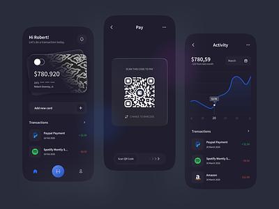 E-Banking Batik - Mobile App 💸 dark mode dark batik scanner barcode clean bank card bank bank app banking ebanking wallet design ux ui mobile app design mobile design mobile ui mobile app mobile