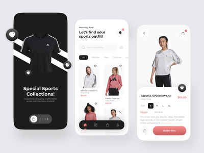 Sports Online Shop - Mobile Apps 🛒⚽ shopping cart shopping app shop hoodie ui ux light mode dark mode light clean mobile design mobile app mobile card outfit tshirt sport online store online shop ecommerce