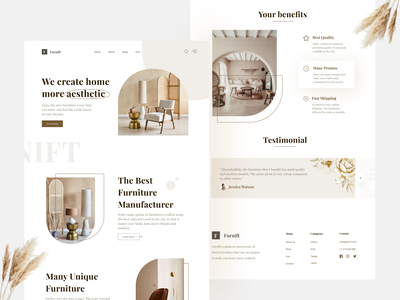 Furnift - Furniture Website Exploration 🪑✨ ui  ux ui design clean ui webdesign aesthetic chair furniture design web design website design website furniture website brown classic minimalist furniture store furniture app furniture ux ui clean