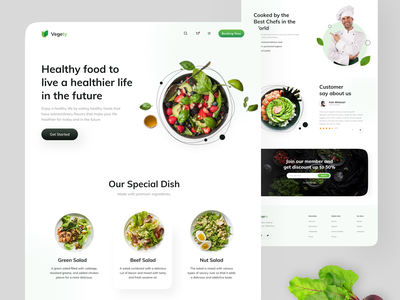 Vegety - Restaurant Website Exploration web design design app uiux health vegetables vegetable minimalist restaurants food app green food healthy restaurant website design webdesign website design ux ui clean