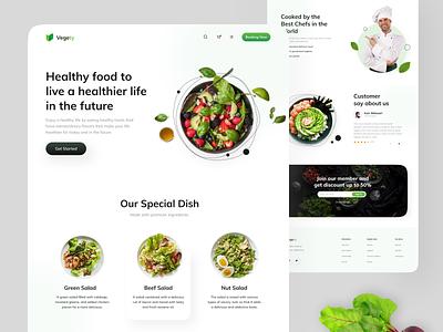 Vegety - Restaurant Website Exploration web design design app uiux health vegetables vegetable minimalist restaurants food app green food healthy restaurant website design webdesign website design ux ui clean