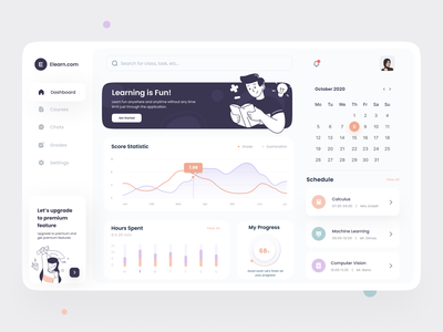 E-Learning Dashboard - Exploration 📚 study app study learning app learning dashboard design web app design course app elearning courses elearning courses website concept dashboard app dashboard ui dashboad web app websites web design web website clean