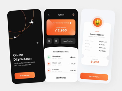 Online Digital Loan Exploration 💸 mobile design wallet bank app ewallet loan calculator loans splashscreen principle ux ui mobile app animation calculator banking bank transaction money app loan app loan card