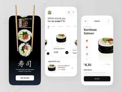Sushi Apps Exploration 🍣 food shop minimalist food app sushi app delivery app shop card clean mobile delivery green restaurant food japan sushi splashscreen mobile design mobile app ux ui