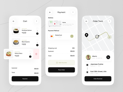 Sushi Restaurant Apps Exploration 🍙 shop voucher card green maps order track tracking payment cart delivery japan sushi restaurant food minimalist mobile design mobile app clean ux ui