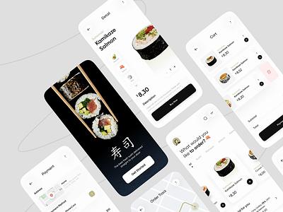 Sushi Restaurant Apps Exploration 🍙 - Animation suhsi japan green shop maps tracking order track payment cart restaurant food app food animation card minimalist mobile design mobile app ux ui clean