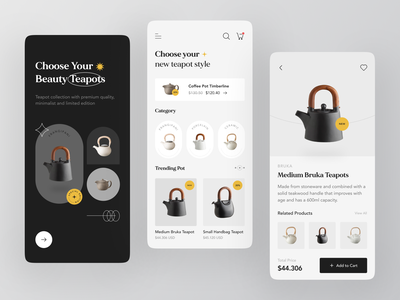 Teapoty - Mobile Apps Exploration ✨ store grey furniture design splashscreen ecommerce property teapot furniture store furniture app black classic minimalist shop furniture mobile design mobile app card ux ui clean