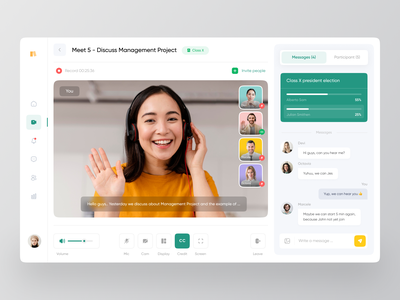 Meety - Video Conference 🎥 meetup speakers seminar workshop event online meet live meeting livestream zoom chat video video call meet conferencing conference dashboard clean ux ui