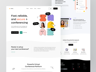 Meety - Landing Page Exploration 🎥 video call web conferencing chat zoom live streaming meeting live online meet event workshop seminar speakers conference minimalist green website clean ux ui