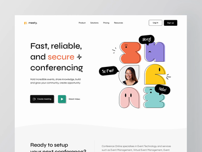 Meety - Landing Page Animation 💻 🎥 animation speakers seminar workshop event online meet meeting live streaming live zoom chat conferencing conference web minimalist website clean ux ui video call