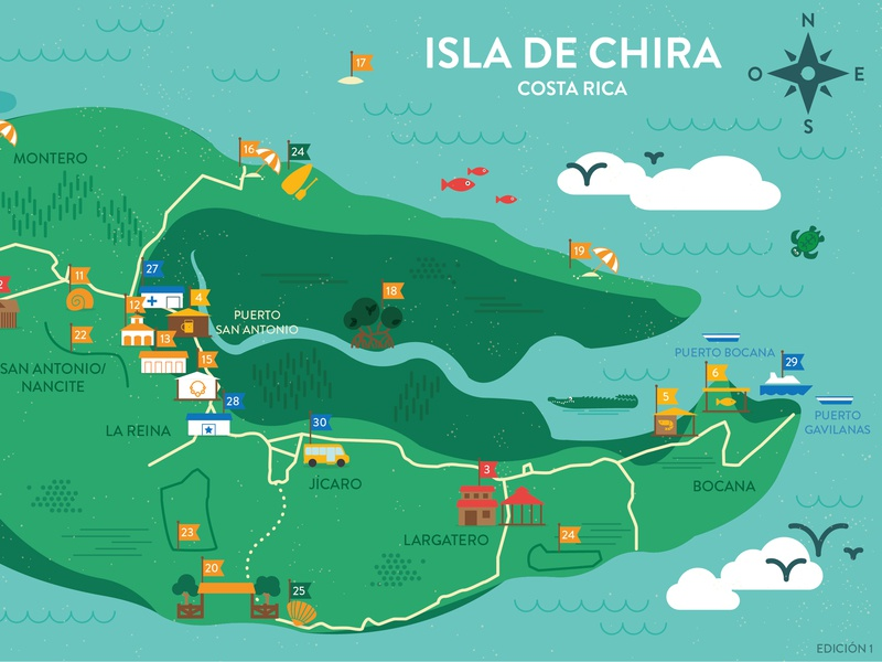 Chira, Costa Rica Map by Sarah Kennedy | Dribbble | Dribbble