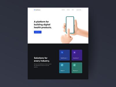 Healthblocks Homepage product design branding ui design homepage clean interface 3d ux website minimal startup healthcare ui
