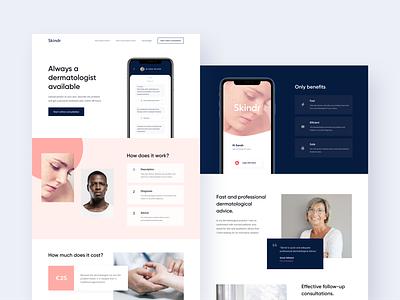 Skindr Website digital health mobile app medical minimal clean ui website brand identity brand design branding ui health dermatology skincare healthcare