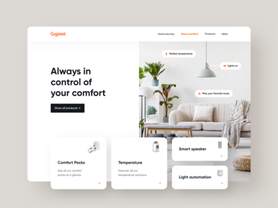 Gigaset Smart Home shop ecommerce brand identity brand design ui ux minimal brand identity light ui desktop website card ui smart home gigaset branding