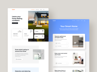 Gigaset Smart Home Website minimal tags desktop web home security ux gigaset identity ui design eccomerce shop webshop smart home smarthome website ui user inteface