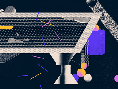 Setting up a remote architecture office paper pencils crayons halftone grid abstract shapes geometry texture working from home workspace desk illustration