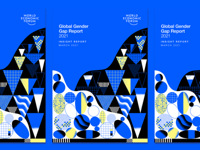 Global Gender Gap Report 2021 patern editorial illustration cover abstract gender charts