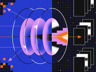 Access Control Lists pixel internet grid vpn blog illustration arrows abstract texture access network