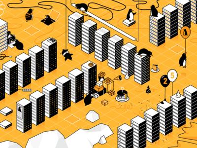 Linux is 25! wallpaper illustration datacenter linux penguins