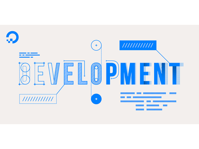 Development  code develop build blueprint blue lettering type typography illustration