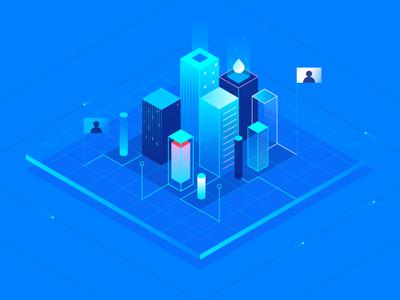 Scaling blue gradient stack servers platform tech illustration