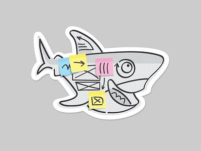 UX Sammy shark sticker sharpie post it wireframe ux