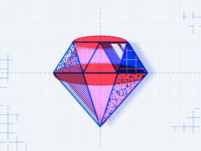 Ruby print halftone texture illustration ruby