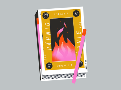Gig Poster type halftone texture fire box match matches poster