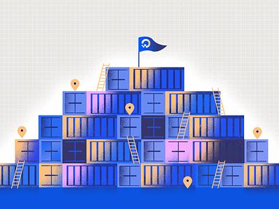 Multi Region Docker Registry construction pyramid docker container texture illustration