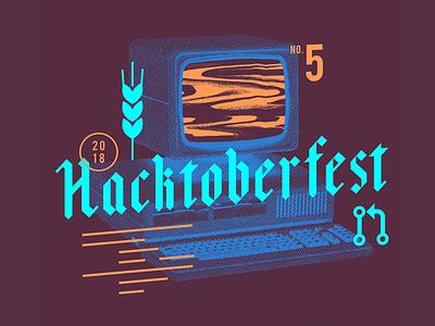 Hacktoberfest 2018 t-shirt screen computer autumn noise halftone vintage code hack